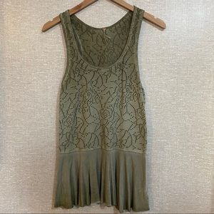 FREE PEOPLE Floral Lace Tunic Tank Top
